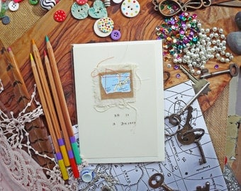 Handmade Stitched Map Art and Recycled Upcycled Paper Scrap Greetings Card - Life Is A Journey Message - MADE TO ORDER
