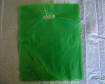 10 pack 12X15 Lime Green Merchandise Bags Glossy Handles Low Density Handle Gift Bags