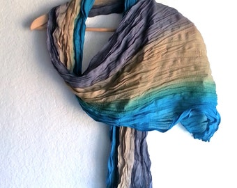 Wrinkled Scarf, Crinkled Fabric, Three colors shawl