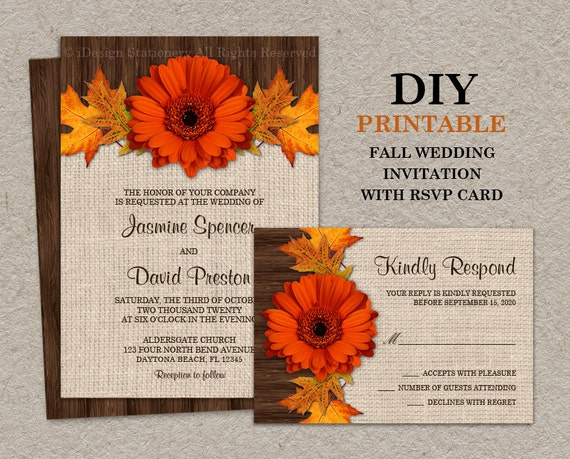 Diy Autumn Wedding Invitations: Items Similar To DIY Fall Wedding Invitations With RSVP