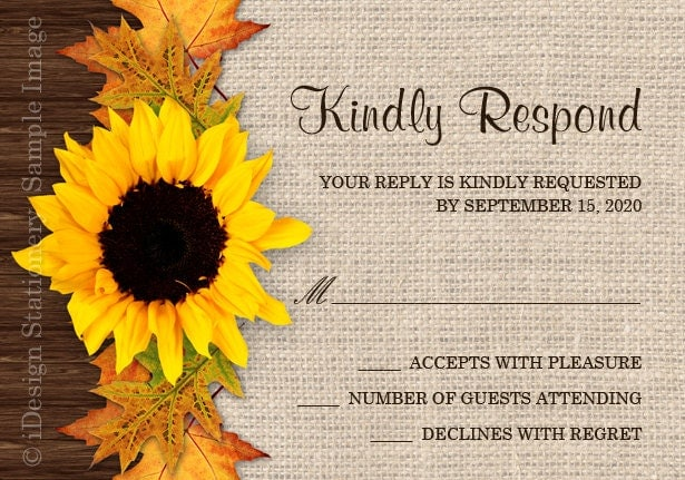 Cheap Sunflower Wedding Invitations: Fall Sunflower Wedding Invitations With RSVP Cards DIY