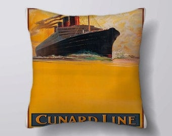 Cunard Line To all parts on the World Ship travel - Cushion Fabric Panel Or Case or with Filling