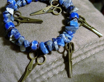 Sodalite and Milifori Scissor Bracelet