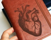 Anatomical Heart Journal Customizable engraved Journal leather bound strip with same color to keep it closed mother's day leather jounral