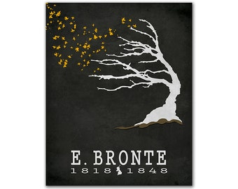 Emily Bronte Wuthering Heights - Tree Leaves Floating In Air Fall Wind Literary Decor Reading Gift Ideas Book Lover Gift Britsh Author