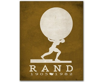Ayn Rand Atlas Shrugged - Atlas Holding Heavy World Planet Philosophy Fiction Politics Reading Gift Ideas Book Lover Art Russian Writer