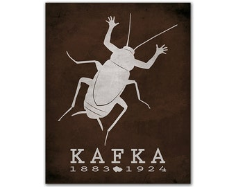 Literary Poster Franz Kafka The Metamorphosis - Man Turns Into Insect Transformation Despair Reading Room Decor Gift Czech Republic Author