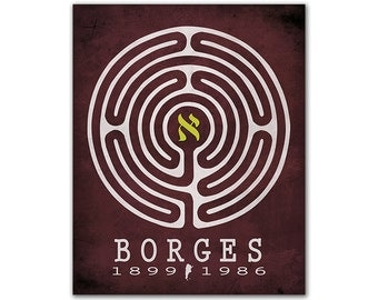 Jorge Luis Borges Labyrinths Aleph - Time Obsession Maze Philosophy Literary Gift For Writers Reading Gift Ideas Argentinian Author