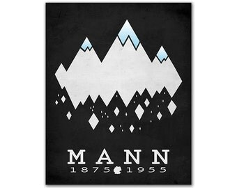 Thomas Mann The Magic Mountain - Alps Snowing Mountain Peaks Solid Ice Bibliophile Art Literary Gifts Reading Room Decor German Author