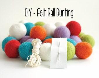 KIT - Felt Ball Bunting / Garland - Nursery Decor - Party Decor