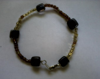 Handmade 7 Inch No Stone Multi-Colored Glass Beaded Stainless Steel Bracelet