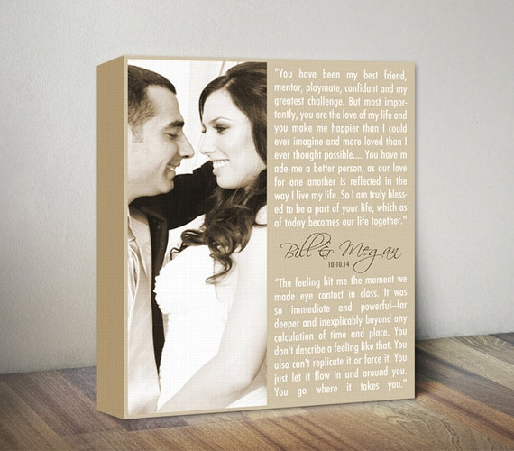 Wedding Vows Canvas Artwork, Personalized Wedding Vows Gift, Wedding ...