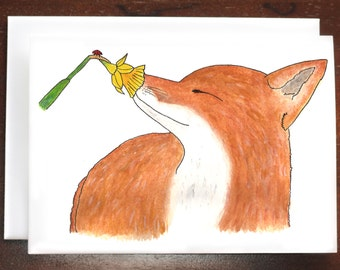 Fox and Flower Greeting Card