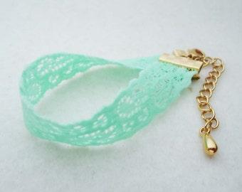 204.Cute, Simple, Elastic Bracelet - Mint color