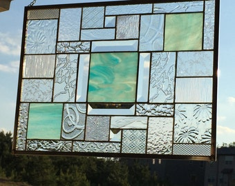 Beautiful Sky Blue Wispy Stained Glass Panel with many Clear Patterned Glasses and Lovely Bevels