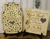Wedding Guest Book/Top Drop/Mason Jar/Alternative/Shadow Box/Drop Frame/Heart/Custom/U Choose Colors/Complete Set/Free Shipping