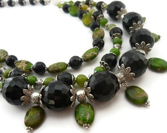 Statement stone necklace green black jewelry nature boho agate jewelry agate necklace beaded handmade unique gift for her variscite jewelry