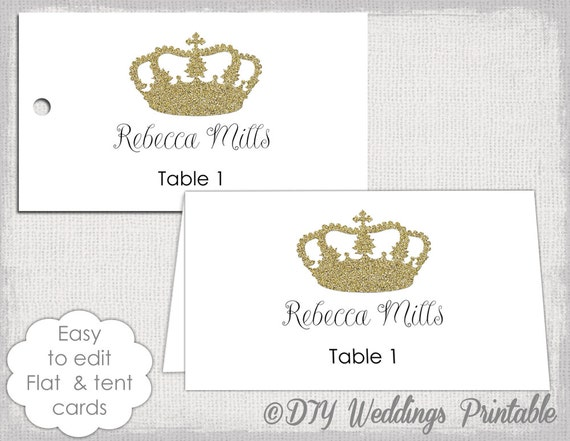 Gold Place Card Template Crown Name Cards DIY