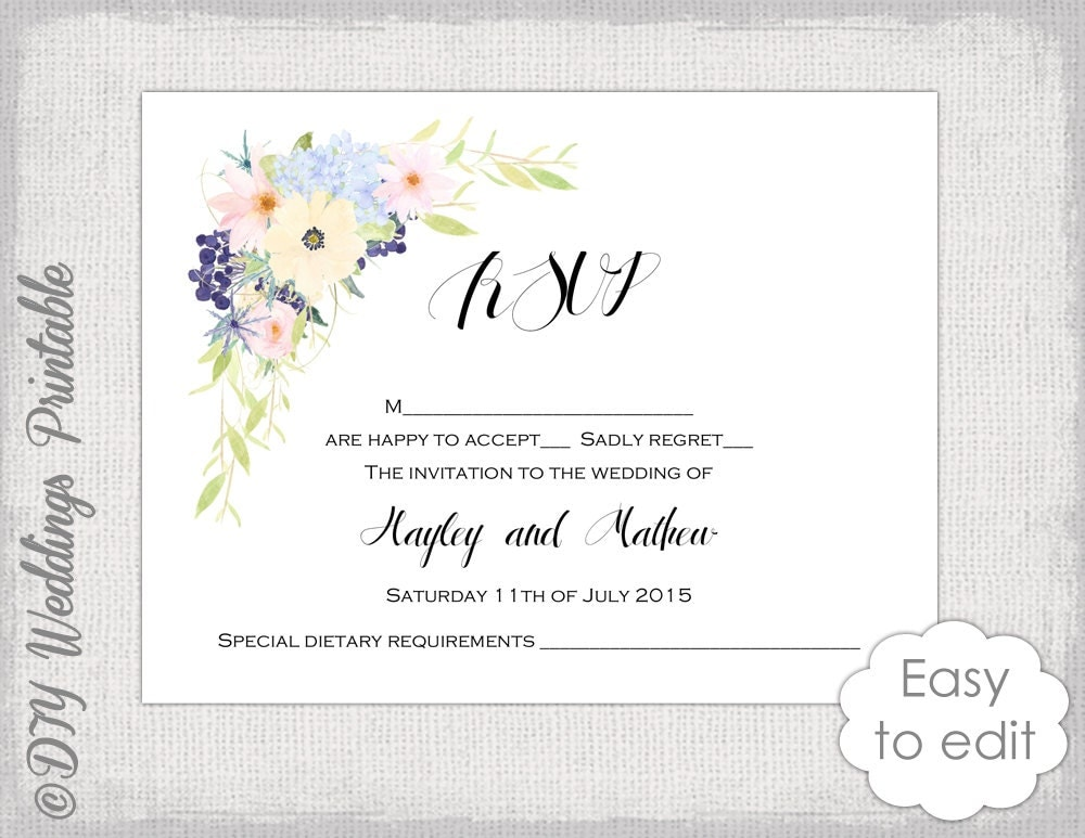 rsvp cards for weddings templates - rsvp template printable flower garland response card digital