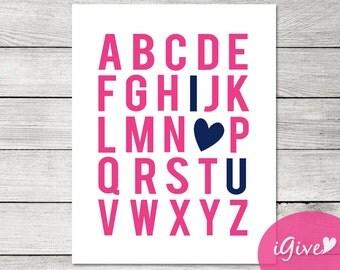 Navy and Hot Pink Alphabet Print - DIY - Instant download - 11x14 - Baby Shower - Girl Nursery Print - Alphabet Print - I heart U