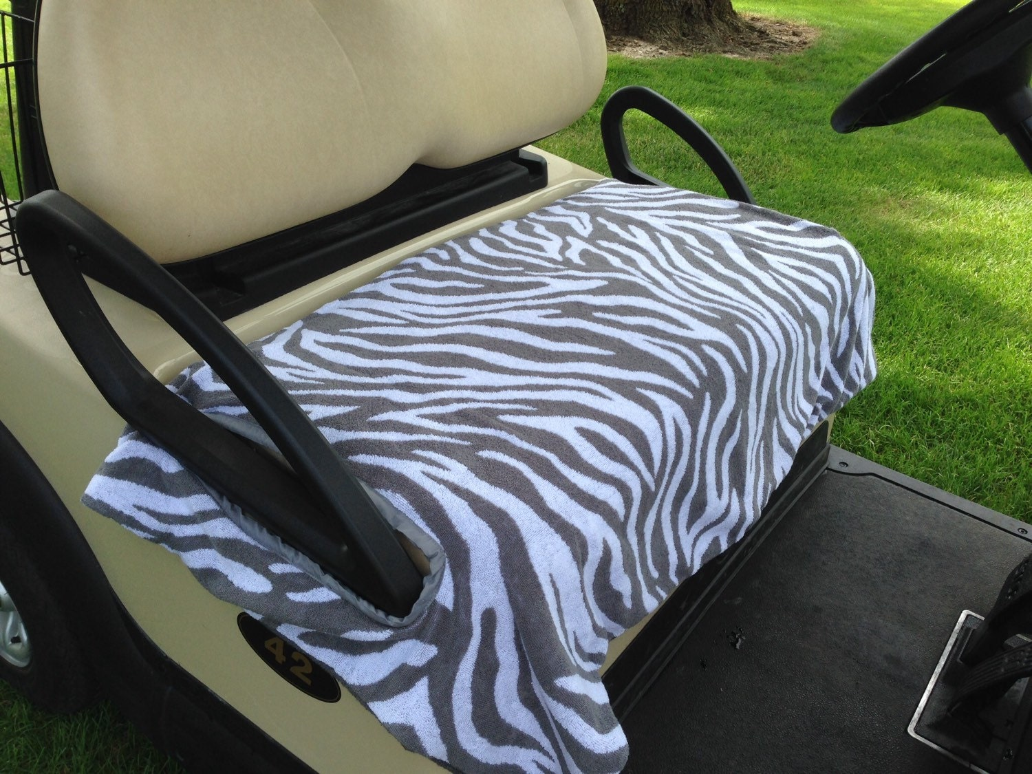 gray zebra terry cloth golf cart seat cover. Black Bedroom Furniture Sets. Home Design Ideas