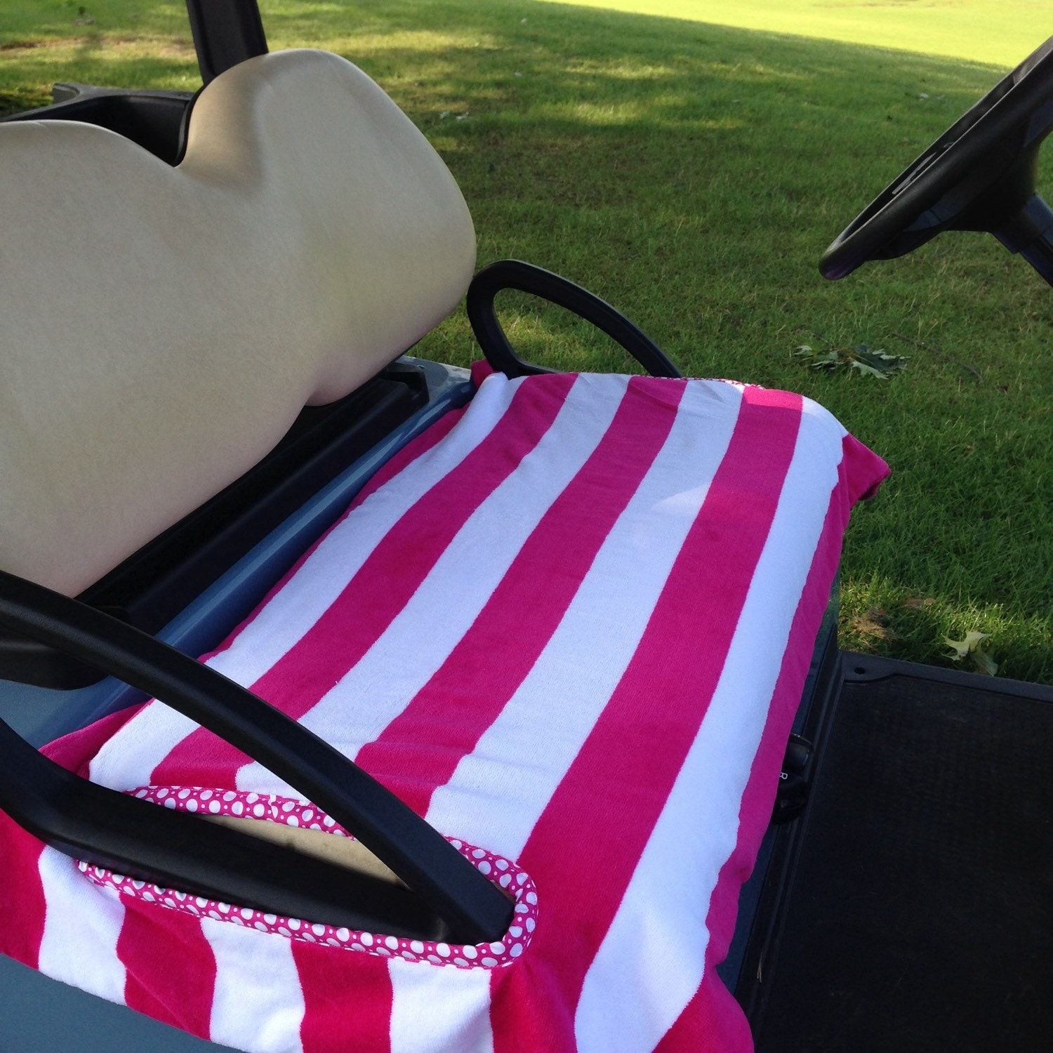 Pretty Pink Stripe Terry Cloth Golf Cart Seat Cover