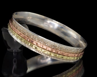 Sterling Silver Spinner Bangle, 925 Sterling Silver, Brass & Copper Embossed Meditation Spinner Bangle #B01