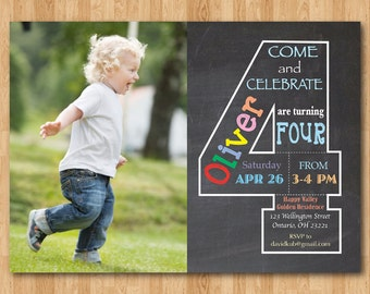 Chalkboard 4th Birthday Invitation with Picture. Fourth Birthday Invite with Photo. Baby Boy or Girl Birthday Party. Printable Digital DIY