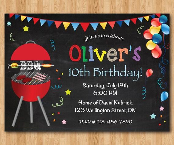 BBQ Birthday Invitation. Kids Chalkboard BBQ Barbecue Birthday