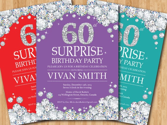 Surprise 60th Birthday Invitation Women Rhinestone Diamond
