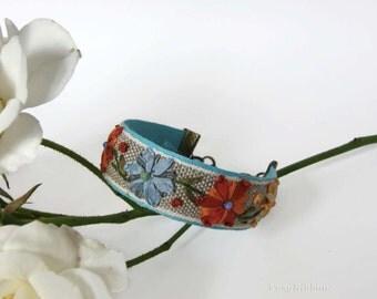 Fabric Cuff Bracelet-FREE SHIPPING- Blue Country Cuff Bracelet- Floral Fabric Bracelet- Embroidered Fabric Bracelet-Jewelry Gift
