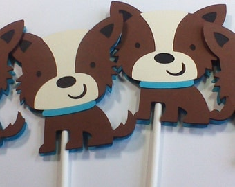 Cupcake Toppers Dog Cupcake Toppers Birthday Cupcake Toppers Terrier Dog Cupcake Toppers Kids Party Toppers Handmade Cupcake Toppers