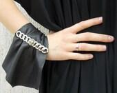 Leather Bracelet with Extravagant Metal Accessory / Genuine Leather Bracelet TLJ13