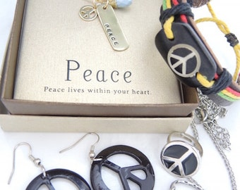 5 piece set of PEACE Jewelry 14k plated Necklaces Pierced Dangle Earrings Adjustible Ring Leather handcrafted Bracelet B