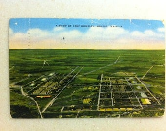 Vintage Tx Postcard Abilene Texas Camp Barkeley Airview