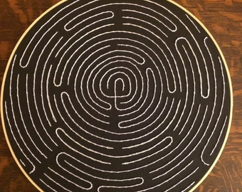 Black and white labyrinth, Hoop embroidery, Wall hanging.