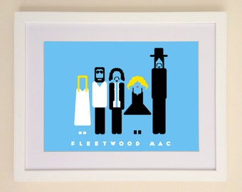 Fleetwood Mac Art Print available in A4 or A3 printed on Archival Matte Paper