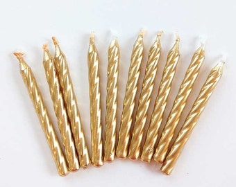 "2-1/2"" Gold Twist Birthday Candles (10) Metallic Gold Twisted Party Candles Cake Decorations Golden Anniversary Wedding"