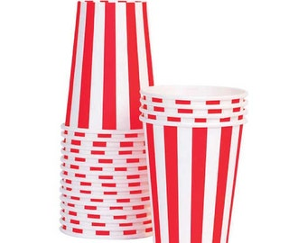 Paper Cups, Red Stripe Paper Eskimo Party Cups (12)