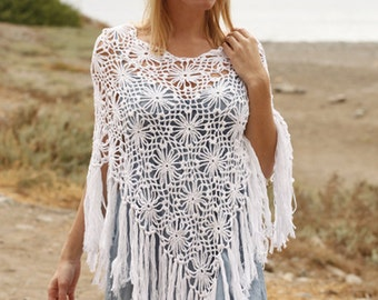 Summer poncho, crochet poncho, lace poncho, lace shawl, shawl, summer wrap, cotton wrap, 100% hand made, granny's squres.