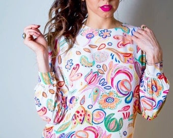 VTG 90's Colorful Floral Long Sleeve Playful Blouse