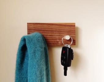 Modern Key Hanger Mid Century Style in Reclaimed Wood Solid Walnut