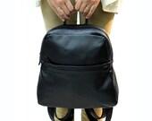 Sale!!! Black Leather Backpack,Leather Rucksack, Small Leather Backpack, School Backpack, Travel Backpack, Black Leather Bag