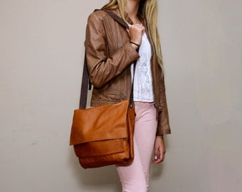 Sale!!! Brown Leather Messenger Bag, Leather lap top Bag, Women leather bag, Handmade by Limor Galili