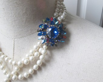 Vintage Sapphire Blue  AB Rhinestone Multi Strand Faux Pearl Necklace