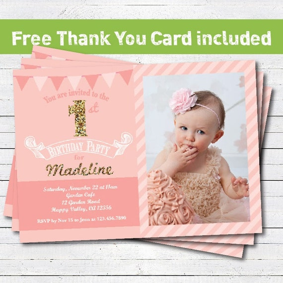 Baby girl first 1st birthday invitation pink gold glitter – Baby Girl 1st Birthday Invitations Free