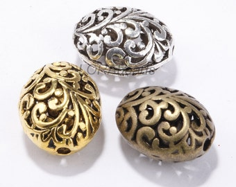 20pcs Antique Silver/Golden/Bronze Hollow Flower Spacer Beads 14x12mm