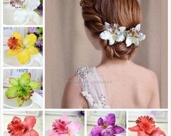 Hotsale Colorful Bridal Wedding Orchid Flower Hair Clip Barrette Women