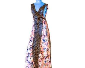 Vintage 80s Transparent Floral Jumpsuit One Piece Wide Leg Romper