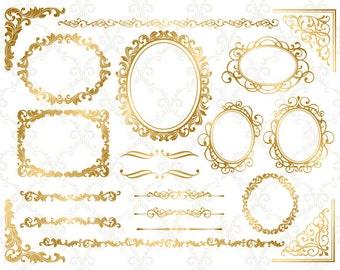 Gold Digital Frame Ornate Clip Art Gold Corner Clipart Digital Golden Flourish Swirls Frame Border Scrapbook Decoration Embellishment 0130